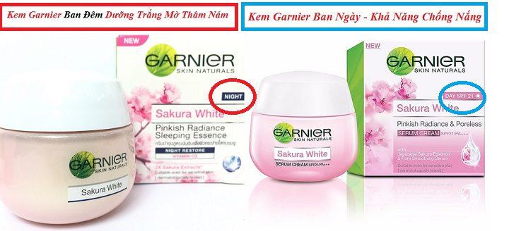 Bộ Kem dưỡng trắng Thái Lan Garnier gồm 2 hũ- Kem Ban Đêm và Kem Ban Ngày
